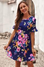 Lacivert Volanlı Kısa Kollu Çiçekli Elbise