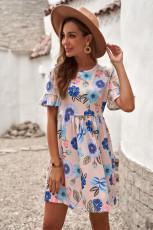 Pembe Volanlı Kısa Kollu Çiçekli Elbise