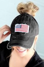 หมวก Bun Messy Bun สีดำ USA Flag