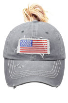 Grijze USA Flag Messy Bun Cap