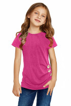 Camiseta de manga corta con detalle de botones laterales en rosa para niñas pequeñas