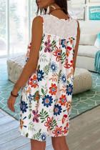 Witte kanten splicing gebloemde mini-jurk