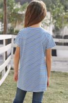Blå kortærmet front twist stripet pigetop