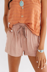 Dusty Pink Drawstring Elastic Waist Casual Shorts with Pockets