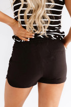 Black Drawstring Elastic Waist Casual Shorts with Pockets