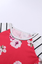 Red Spring Fling Floral Striped Sleeve Short Dress for Kids