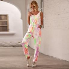 Macacão de jogging com cordão multicolorido e tie-dye