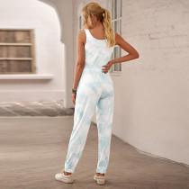 Blue Tie Dye Kordelzug Jogging Jumpsuit