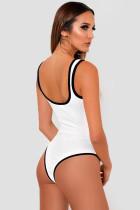 Bodysuit Ribbed Ribbed Colorblock White
