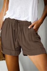 กางเกงขาสั้น Tencel ลายทางสีน้ำตาล