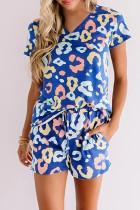 Světle modré leopardí tričko a šortky do salonu