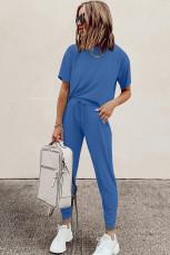 เซตเสื้อยืดคอกลมผ้าคอตตอนสีน้ำเงินโคซี่