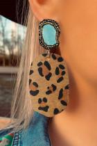Leopard Rhinestone Irregular Stone Pendant Earrings