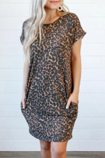 Leopard Short Sleeve Backless Pocketed Mini Dress