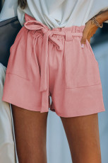 Pink Cotton Blend Pocketed Knit Shorts