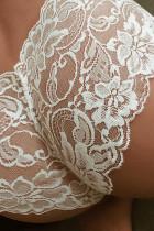 Witte doorschijnende kanten panty