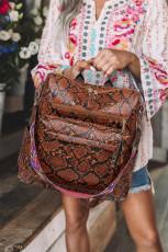 Brun afslappet rygsæk med slangeskindprint