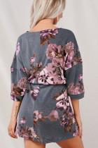 Серое платье-туника с цветочным принтом