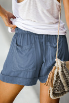 Blue Strive Pocketed Tencel Shorts