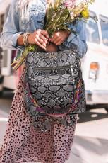 Grå Casual rygsæk med slangeskindprint