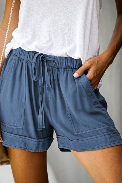 Shorts de tencel con bolsillo azul de Strive