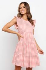 Pink Plaid Ruffled Mini Dress