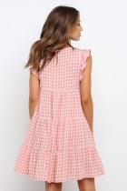 Pink Plaid Ruffled Mini Kjole