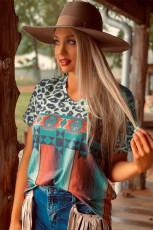 레오파드 세라 페 프린트 V 넥 티셔츠