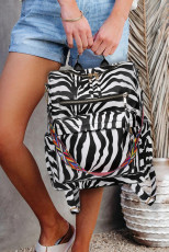 Zebra Print Color Straps Backpack
