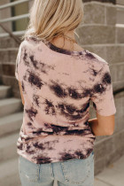 T-shirt rosa con scollo a V tie-dye