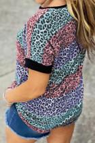 تی شرت Colorblock راه راه پلنگ چند رنگ