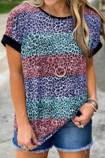 T-shirt Colorblock a righe leopardate multicolor