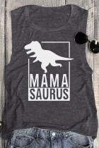 MAMA SAURUS Dinosaur O-Neck 탱크