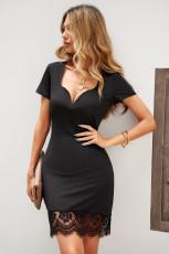 Zwarte bodycon mini-jurk met korte mouwen en kanten afwerking