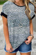 T-shirt Colorblock Striped Grey Leopard