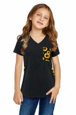 Siyah V Yaka Ayçiçeği Ekleme Çocuk Tişört