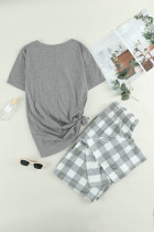 Letter Print Tee and Buffalo Pants Lounge Set