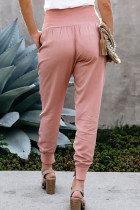 Pink Wide Waistband Pocketed Joggers