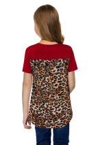 Red V Neck Leopard Splicing Kid Tee