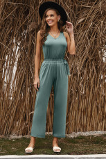 Green V Neck Elastic Waist Sleeveless Jumpsuit