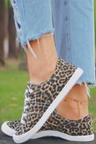 Scarpe di tela stringate leopardate