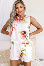 White Floral Print Tank Top and Shorts Homesuit