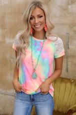 Maglietta raglan all'uncinetto brillante tie-dye