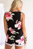 Black Floral Print Tank Top and Shorts Homesuit