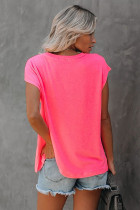 Rose Pocketed Tee with Side Slits