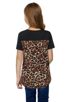 Black V Neck Leopard Splicing Kid Tee