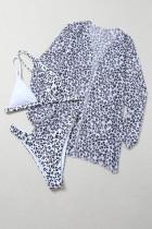 Leopardikuvioinen värilohko Kolmiosainen bikini-uimapuku