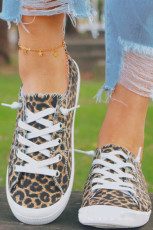 Leopard Lace up Canvas Shoes