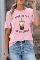 핑크 NEVER TOO COLD FOR ICED COFFEE 티셔츠