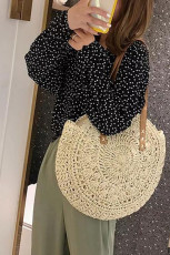 Khaki Beach Casual Woven Rattan Bag